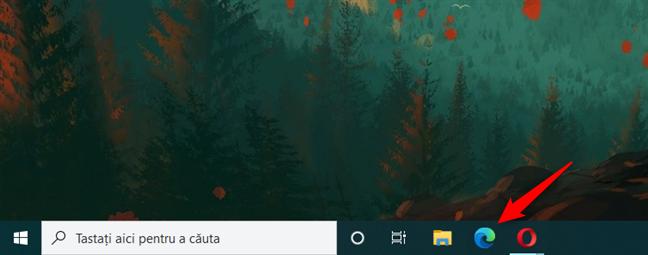 Scurtătura Microsoft Edge de pe bara de activități