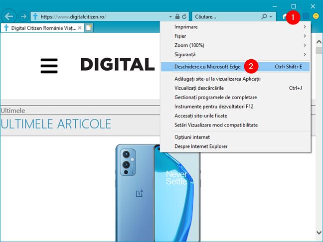 Cum se deschide Microsoft Edge din Internet Explorer
