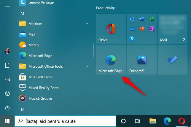 Scurtătura Edge de pe Meniul Start din Windows 10