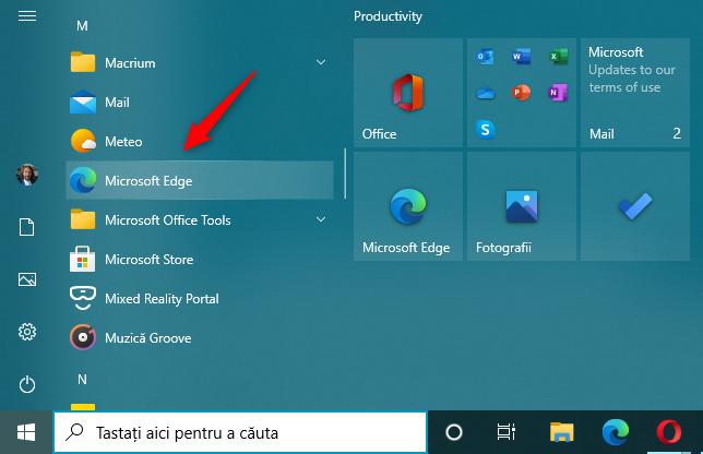 Deschide Microsoft Edge din lista de aplicații a Meniului Start