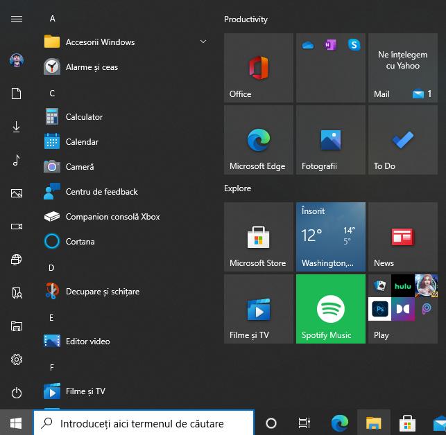 Pentru a vedea toate folderele, redimensionează Meniul Start