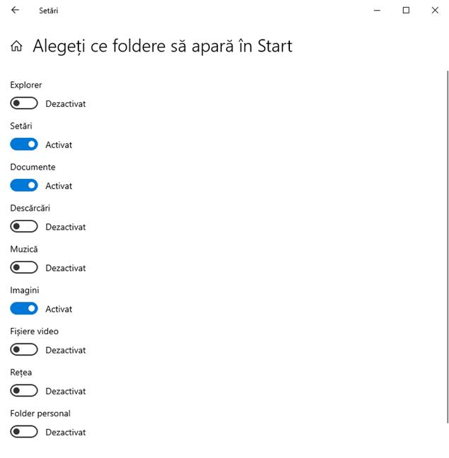 Alege ce foldere să apară în Meniul Start al Windows 10
