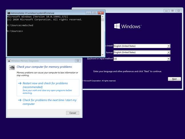 Pornește Diagnosticare Memorie Windows din instalarea de Windows 10