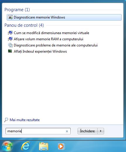 Caută Diagnosticare memorie Windows în Windows 7
