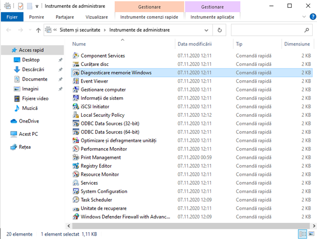Scurtătura Diagnosticare memorie Windows din Instrumente de administrare