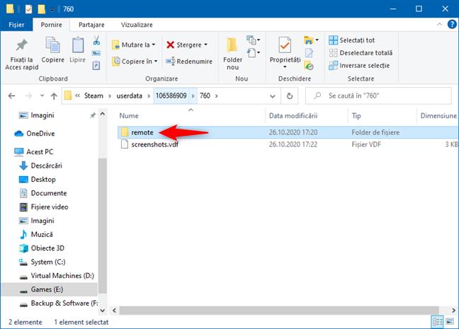 Deschiderea folderului remote din Steam