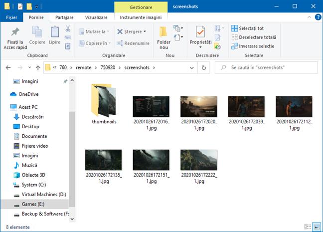 Folderul de capturi de ecran pentru un joc din Steam