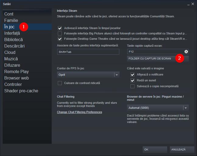Butonul Folder cu capturi de ecran din fila în joc a Setărilor Steam