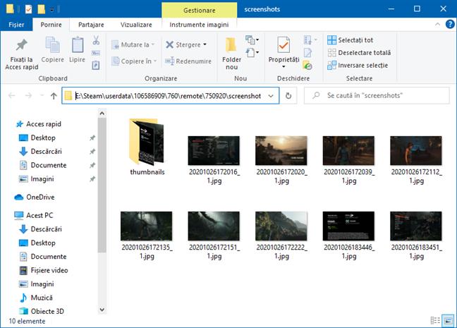 Folder cu capturi de ecran, cu locație personalizată