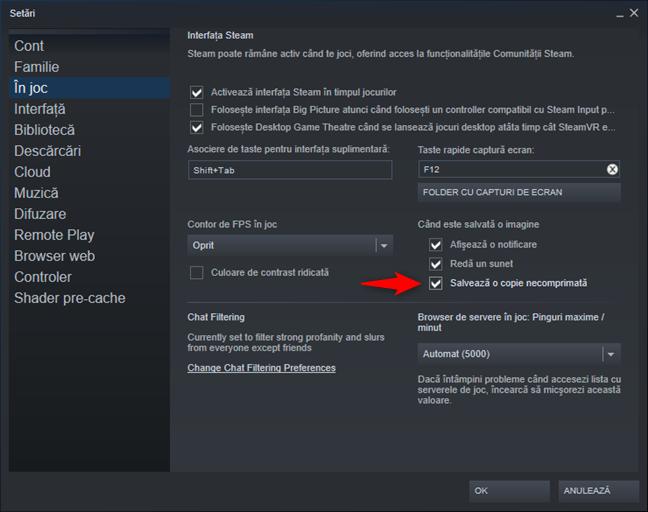 Salvează o copie necomprimată pentru capturile de ecran din Steam