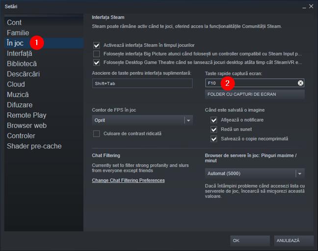 Modificarea butonului de capturi de ecran din Steam