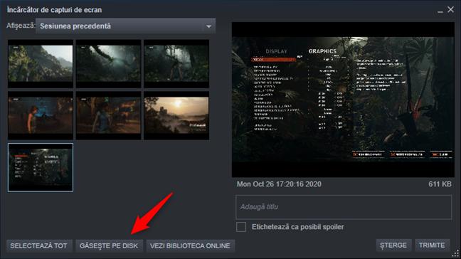 Găsește pe disk în Încărcător de capturi de ecran Steam