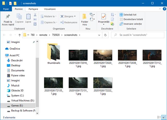 Folderul de capturi de ecran din Steam deschis în (File) Explorer