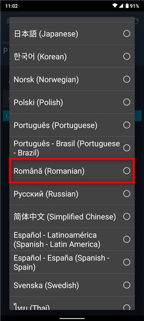 Apasă pe limba pe care vrei s-o folosești pe Steam pentru Android