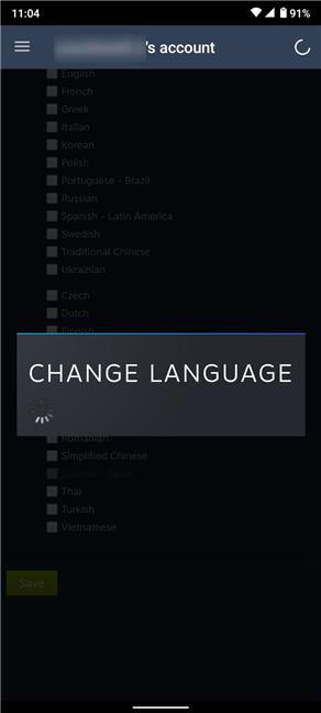 Schimbarea limbii este efectuată după ecranul de încărcare