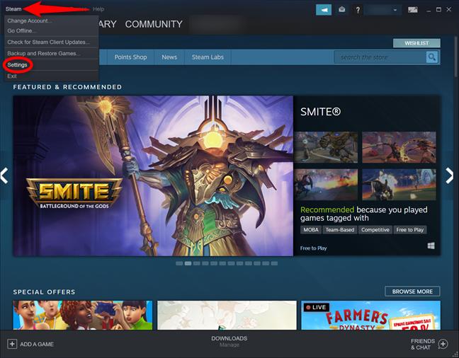 Accesează setările din Steam