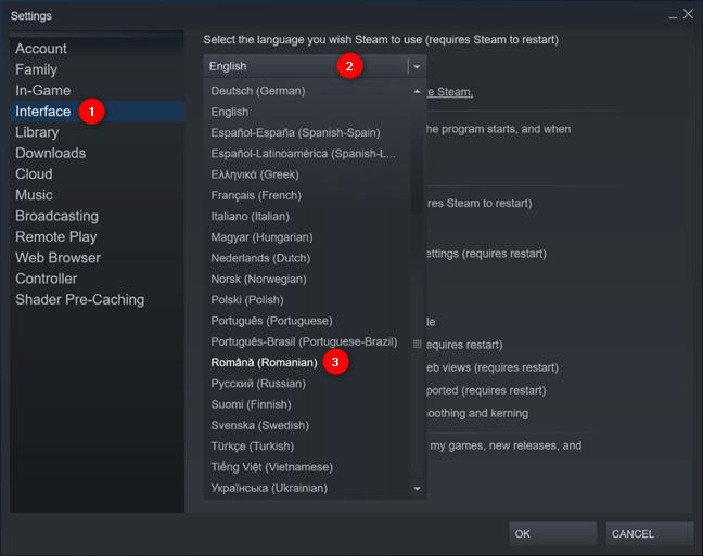 Setările pentru schimbarea limbii pe Steam din Windows 10