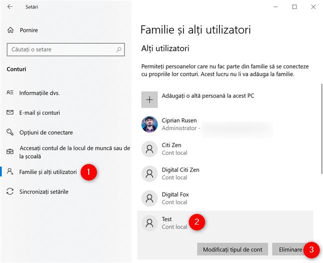Selectează și elimină contul din Windows 10