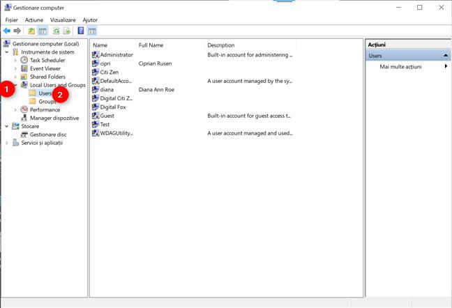 Accesează folderul Users din Local Users and Groups