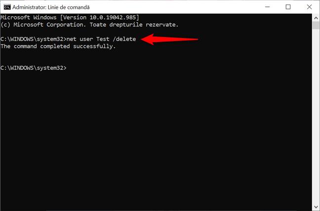 Folosește CMD pentru a șterge un cont din Windows 10
