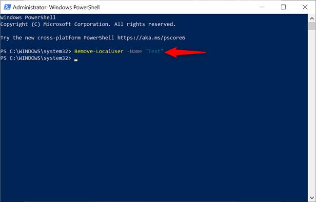 Șterge un cont din Windows 10 cu PowerShell