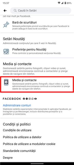 Pentru a opri sunetele în aplicația Facebook, accesează Media și contacte din partea de jos