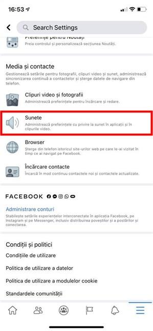 Accesează Sunete pentru a opri sunetele din Facebook