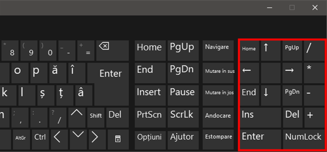 Butoane speciale pe tastatura virtuală din Windows 10
