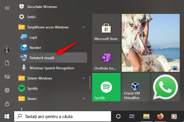 Scurtătura Tastatură vizuală din Windows 10