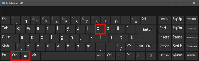 Tastatura vizuală din Windows 10