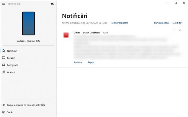 Verificare Notificări în aplicația Telefonul dvs. din Windows 10