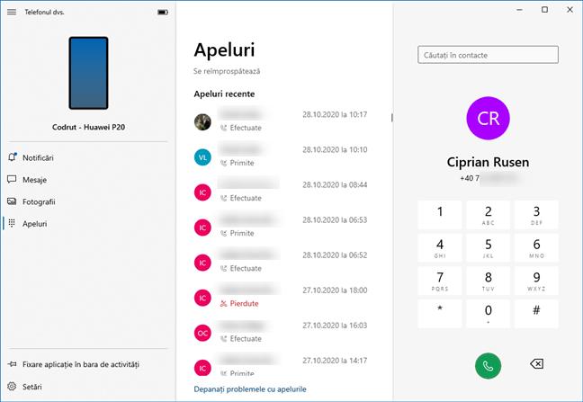 Apelarea telefonică din aplicația Telefonul dvs. pentru Windows 10
