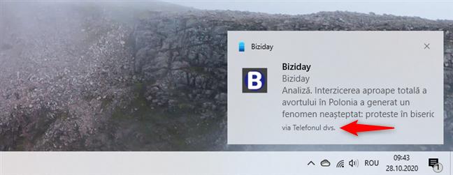 Notificare de la aplicația Telefonul dvs. din Windows 10