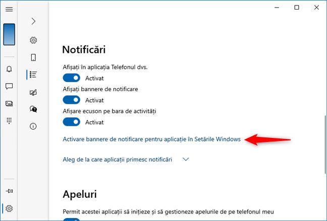 Alegere aplicații care afișează bannere de notificări