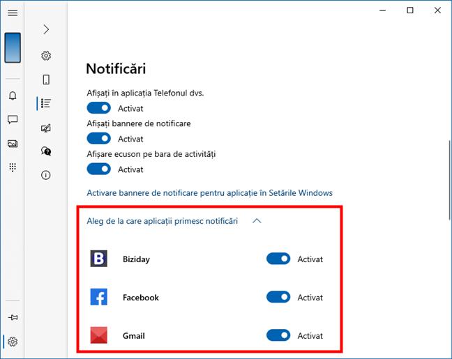 Alege care aplicații din Android te pot notifica în aplicația Telefonul dvs. din Windows 10