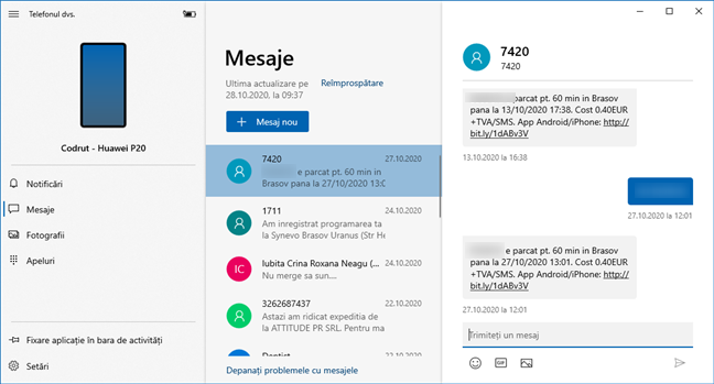 Mesaje în aplicația Telefonul dvs. pentru Windows 10