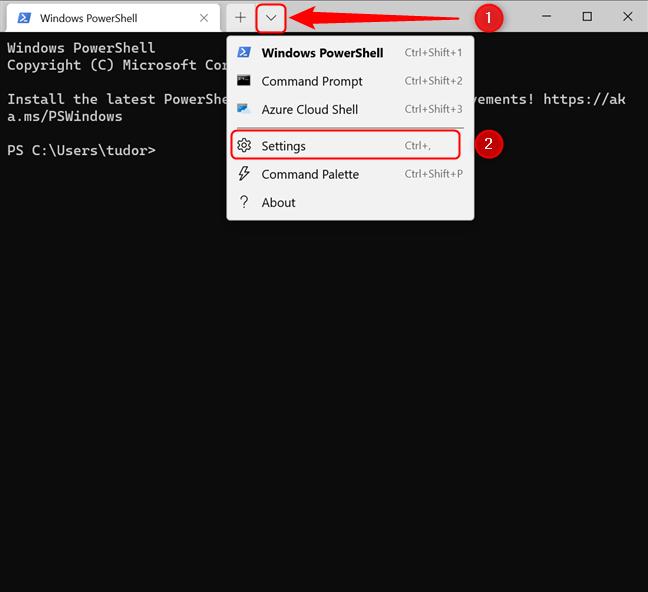 Accesează setările Windows Terminal