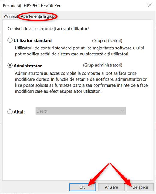 Alege între Utilizator standard și Administrator și aplică-ți schimbările