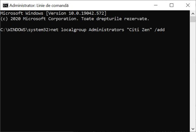 Folosește CMD pentru a promova un cont la Administrator