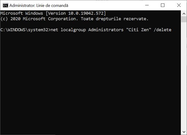 Folosește CMD pentru a schimba tipul unui cont din Administrator în Standard