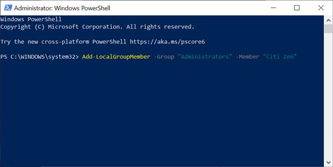 Promovează un cont la Administrator cu PowerShell