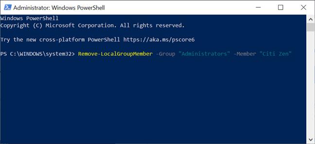 Schimbă un cont de Administrator înapoi la Standard cu PowerShell