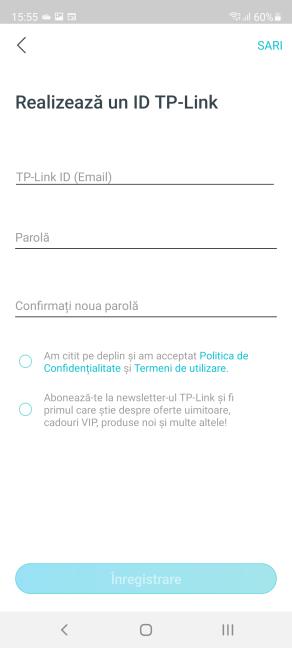 Crează un cont TP-Link