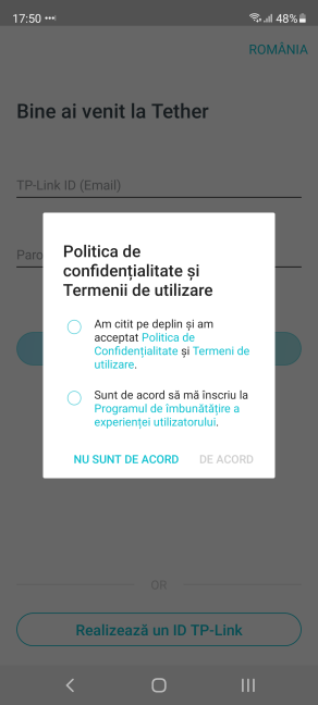 Acceptă politica și termenii TP-Link
