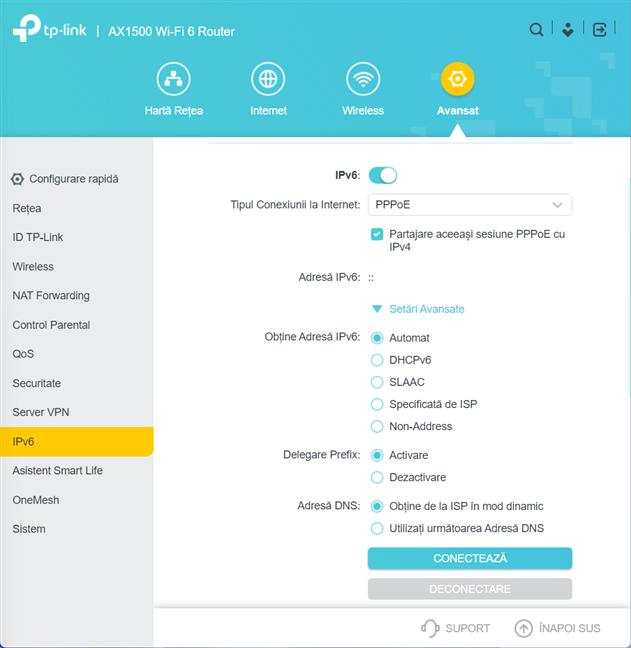 Personalizează cum funcționează IPv6 pe router