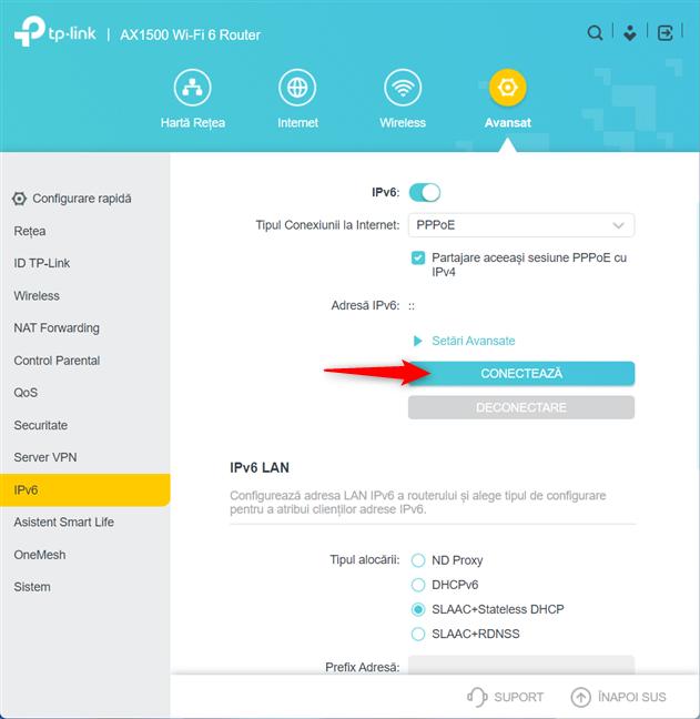Apasă pe Conectează pentru a folosi IPv6