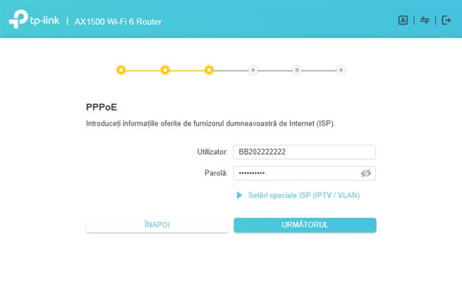 Introdu contul și parola pentru conexiunea PPPoE