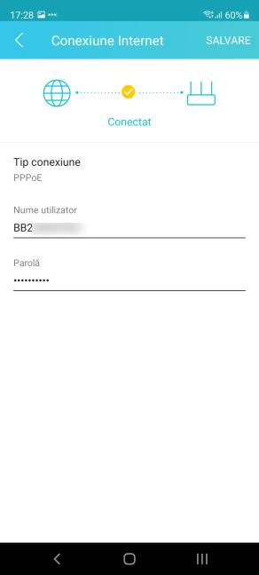 Setează conexiunea PPPoE în aplicația Tether