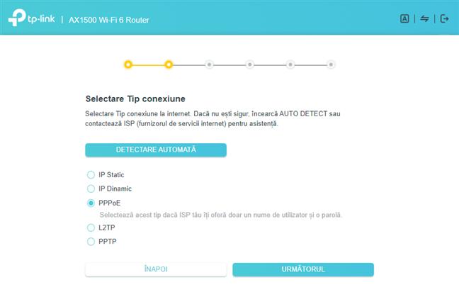 Alege PPPoE drept tipul conexiunii la internet