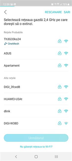 Alege rețeaua Wi-Fi pe 2.4 GHz emisă de routerul TP-Link